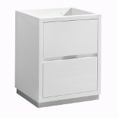 Valencia 24'' Glossy White Free Standing Modern Bathroom Cabinet , Vanity Base: 24'' W x 19'' D x 30'' H