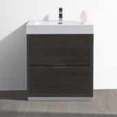 Valencia 30'' Gray Oak Free Standing Modern Bathroom Vanity, Vanity Base: 30'' W x 19'' D x 34'', Sink: 21-7/8'' W x 12-1/2'' D x 4-4/5'' H