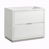 Valencia 36'' Glossy White Free Standing Modern Bathroom Cabinet , Vanity Base: 36'' W x 19'' D x 30'' H