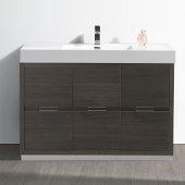 Valencia 48'' Gray Oak Free Standing Modern Bathroom Vanity, Vanity Base: 48'' W x 19'' D x 34'' H, Sink: 21-7/8'' W x 12-5/16'' D x 4-4/5'' H
