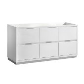 Valencia 48'' Glossy White Free Standing Double Sink Modern Bathroom Cabinet , Vanity Base: 48'' W x 19'' D x 30'' H
