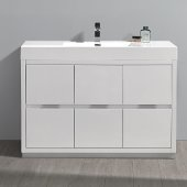 Valencia 48'' Glossy White Free Standing Modern Bathroom Vanity, Vanity Base: 48'' W x 19'' D x 34'' H, Sink: 21-7/8'' W x 12-5/16'' D x 4-4/5'' H