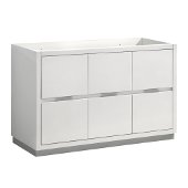 Valencia 48'' Glossy White Free Standing Single Sink Modern Bathroom Cabinet , Vanity Base: 48'' W x 19'' D x 30'' H