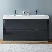 Valencia 60'' Dark Slate Gray Free Standing Double Sink Modern Bathroom Vanity, Vanity Base: 60'' W x 19'' D x 34'' H, Sink: 19-11/16'' W x 12-5/16'' D x 4-4/5'' H