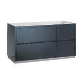 Valencia 60'' Dark Slate Gray Free Standing Single Sink Modern Bathroom Cabinet , Vanity Base: 60'' W x 19'' D x 30'' H