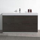 Valencia 60'' Gray Oak Free Standing Modern Bathroom Vanity, Vanity Base: 60'' W x 19'' D x 34'' H, Sink: 21-7/8'' W x 12-5/16'' D x 4-4/5'' H