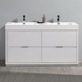 Valencia 60'' Glossy White Free Standing Double Sink Modern Bathroom Vanity, Vanity Base: 60'' W x 19'' D x 34'' H, Sink: 19-11/16'' W x 12-5/16'' D x 4-4/5'' H