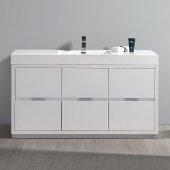 Valencia 60'' Glossy White Free Standing Modern Bathroom Vanity, Vanity Base: 60'' W x 19'' D x 34'' H, Sink: 21-7/8'' W x 12-5/16'' D x 4-4/5'' H