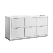 Valencia 60'' Glossy White Free Standing Single Sink Modern Bathroom Cabinet , Vanity Base: 60'' W x 19'' D x 30'' H