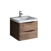 Tuscany 24'' Wall Hung Single Bathroom Vanity Cabinet with Integrated Sink in Rosewood Finish, 23-7/10'' W x 18-9/10'' D x 19-7/10'' H