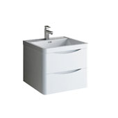 Tuscany 24'' Wall Hung Single Bathroom Vanity Cabinet with Integrated Sink in Glossy White Finish, 23-7/10'' W x 18-9/10'' D x 19-7/10'' H