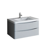 Tuscany 36'' Wall Hung Single Bathroom Vanity Cabinet with Integrated Sink in Glossy Gray Finish, 35-1/2'' W x 18-9/10'' D x 19-7/10'' H