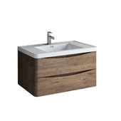 Tuscany 36'' Wall Hung Single Bathroom Vanity Cabinet with Integrated Sink in Rosewood Finish, 35-1/2'' W x 18-9/10'' D x 19-7/10'' H