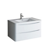 Tuscany 36'' Wall Hung Single Bathroom Vanity Cabinet with Integrated Sink in Glossy White Finish, 35-1/2'' W x 18-9/10'' D x 19-7/10'' H