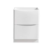 Tuscany 24'' Freestanding Single Bathroom Vanity Cabinet in Glossy White Finish, 23-1/2'' W x 18-4/5'' D x 31-1/2'' H