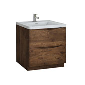 Tuscany 32'' Freestanding Single Bathroom Vanity Cabinet with Integrated Sink in Rosewood Finish, 31-1/2'' W x 18-9/10'' D x 33-1/2'' H