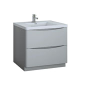 Tuscany 36'' Freestanding Single Bathroom Vanity Cabinet with Integrated Sink in Glossy Gray Finish, 35-1/2'' W x 18-9/10'' D x 33-1/2'' H