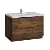 Tuscany 48'' Freestanding Single Bathroom Vanity Cabinet with Integrated Sink in Rosewood Finish, 47-3/10'' W x 18-9/10'' D x 33-1/2'' H