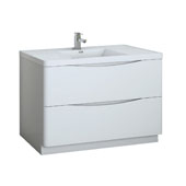 Tuscany 48'' Freestanding Single Bathroom Vanity Cabinet with Integrated Sink in Glossy White Finish, 47-3/10'' W x 18-9/10'' D x 33-1/2'' H