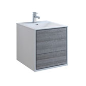 Catania 24'' Wall Hung Single Bathroom Vanity Cabinet with Integrated Sink in Glossy Ash Gray Finish, 23-4/5'' W x 18-1/2'' D x 23-1/5'' H
