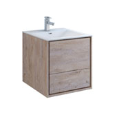 Catania 24'' Wall Hung Single Bathroom Vanity Cabinet with Integrated Sink in Rustic Natural Wood Finish, 23-4/5'' W x 18-1/2'' D x 23-1/5'' H