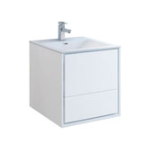 Catania 24'' Wall Hung Single Bathroom Vanity Cabinet with Integrated Sink in Glossy White Finish, 23-4/5'' W x 18-1/2'' D x 23-1/5'' H