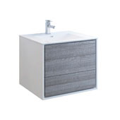 Catania 30'' Wall Hung Single Bathroom Vanity Cabinet with Integrated Sink in Glossy Ash Gray Finish, 29-4/5'' W x 18-1/2'' D x 23-1/5'' H