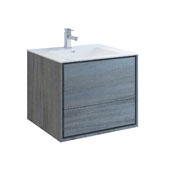 Catania 30'' Wall Hung Single Bathroom Vanity Cabinet with Integrated Sink in Ocean Gray Finish, 29-4/5'' W x 18-1/2'' D x 23-1/5'' H