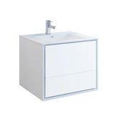 Catania 30'' Wall Hung Single Bathroom Vanity Cabinet with Integrated Sink in Glossy White Finish, 29-4/5'' W x 18-1/2'' D x 23-1/5'' H