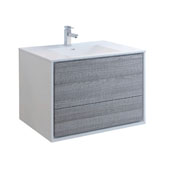 Catania 36'' Wall Hung Single Bathroom Vanity Cabinet with Integrated Sink in Glossy Ash Gray Finish, 35-3/5'' W x 18-1/2'' D x 23-1/5'' H