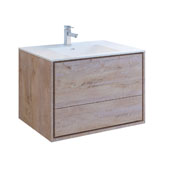 Catania 36'' Wall Hung Single Bathroom Vanity Cabinet with Integrated Sink in Rustic Natural Wood Finish, 35-3/5'' W x 18-1/2'' D x 23-1/5'' H