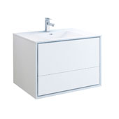 Catania 36'' Wall Hung Single Bathroom Vanity Cabinet with Integrated Sink in Glossy White Finish, 35-3/5'' W x 18-1/2'' D x 23-1/5'' H