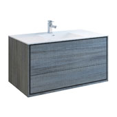 Catania 48'' Wall Hung Single Bathroom Vanity Cabinet with Integrated Sink in Ocean Gray Finish, 47-3/10'' W x 18-1/2'' D x 23-1/5'' H