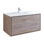 Catania 48'' Wall Hung Single Bathroom Vanity Cabinet with Integrated Sink in Rustic Natural Wood Finish, 47-3/10'' W x 18-1/2'' D x 23-1/5'' H