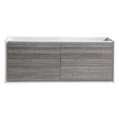 Catania 60'' Wall Hung Double Bathroom Cabinet in Glossy Ash Gray Finish, 59-1/10'' W x 18-2/5'' D x 22-4/5'' H