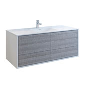 Catania 60'' Wall Hung Bathroom Cabinet with Integrated Single Sink in Glossy Ash Gray Finish, 59-3/10'' W x 18-1/2'' D x 23-1/5'' H