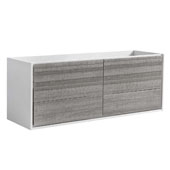 Catania 60'' Wall Hung Single Bathroom Vanity Cabinet in Glossy Ash Gray Finish, 59-1/10'' W x 18-2/5'' D x 22-4/5'' H