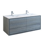 Catania 60'' Wall Hung Double Bathroom Cabinet with Integrated Sinks in Ocean Gray Finish, 59-3/10'' W x 18-1/2'' D x 23-1/5'' H