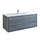 Catania 60'' Wall Hung Single Bathroom Vanity Cabinet with Integrated Sink in Ocean Gray Finish, 59-3/10'' W x 18-1/2'' D x 23-1/5'' H