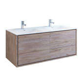 Catania 60'' Wall Hung Bathroom Cabinet with Integrated Double Sink in Rustic Natural Wood Finish, 59-3/10'' W x 18-1/2'' D x 23-1/5'' H