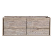 Catania 60'' Wall Hung Double Sink Bathroom Cabinet in Rustic Natural Wood Finish, 59-1/10'' W x 18-2/5'' D x 22-4/5'' H