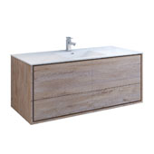 Catania 60'' Wall Hung Single Bathroom Vanity Cabinet with Integrated Sink in Rustic Natural Wood Finish, 59-3/10'' W x 18-1/2'' D x 23-1/5'' H