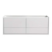 Catania 60'' Wall Hung Double Sink Bathroom Cabinet in Glossy White Finish, 59-1/10'' W x 18-2/5'' D x 22-4/5'' H