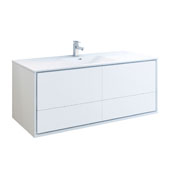 Catania 60'' Wall Hung Single Bathroom Vanity Cabinet with Integrated Sink in Glossy White Finish, 59-3/10'' W x 18-1/2'' D x 23-1/5'' H