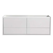 Catania 60'' Wall Hung Single Bathroom Vanity Cabinet in Glossy White Finish, 59-1/10'' W x 18-2/5'' D x 22-4/5'' H