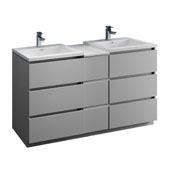 Lazzaro 60'' Freestanding Partitioned Double Bathroom Vanity Cabinet with Integrated Sinks in Gray Finish, 59-3/10'' W x 18-1/2'' D x 35-2/5'' H