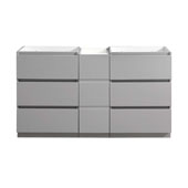 Lazzaro 60'' Freestanding Partitioned Double Bathroom Vanity Cabinet in Gray Finish, 59-1/2'' W x 18-2/5'' D x 34-3/10'' H