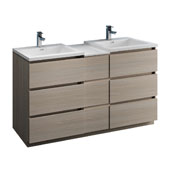 Lazzaro 60'' Freestanding Partitioned Double Bathroom Vanity Cabinet with Integrated Sinks in Gray Wood Finish, 59-3/10'' W x 18-1/2'' D x 35-2/5'' H
