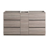 Lazzaro 60'' Freestanding Partitioned Double Bathroom Vanity Cabinet in Gray Wood Finish, 59-1/2'' W x 18-2/5'' D x 34-3/10'' H