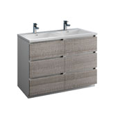 Lazzaro 48'' Freestanding Double Modern Bathroom Vanity Cabinet with Integrated Sinks in Glossy Ash Gray, 47-1/2'' W x 18-1/2'' D x 35-2/5'' H